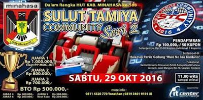 Dalam rangka merayakan Hari Jadi Minahasa ke 588 pada tanggal 5 November 2016 nanti, Pemkab Minahasa bekerja sama dengan Sulut Tamiya Community akan menggelar Race Tamiya Regulasi
