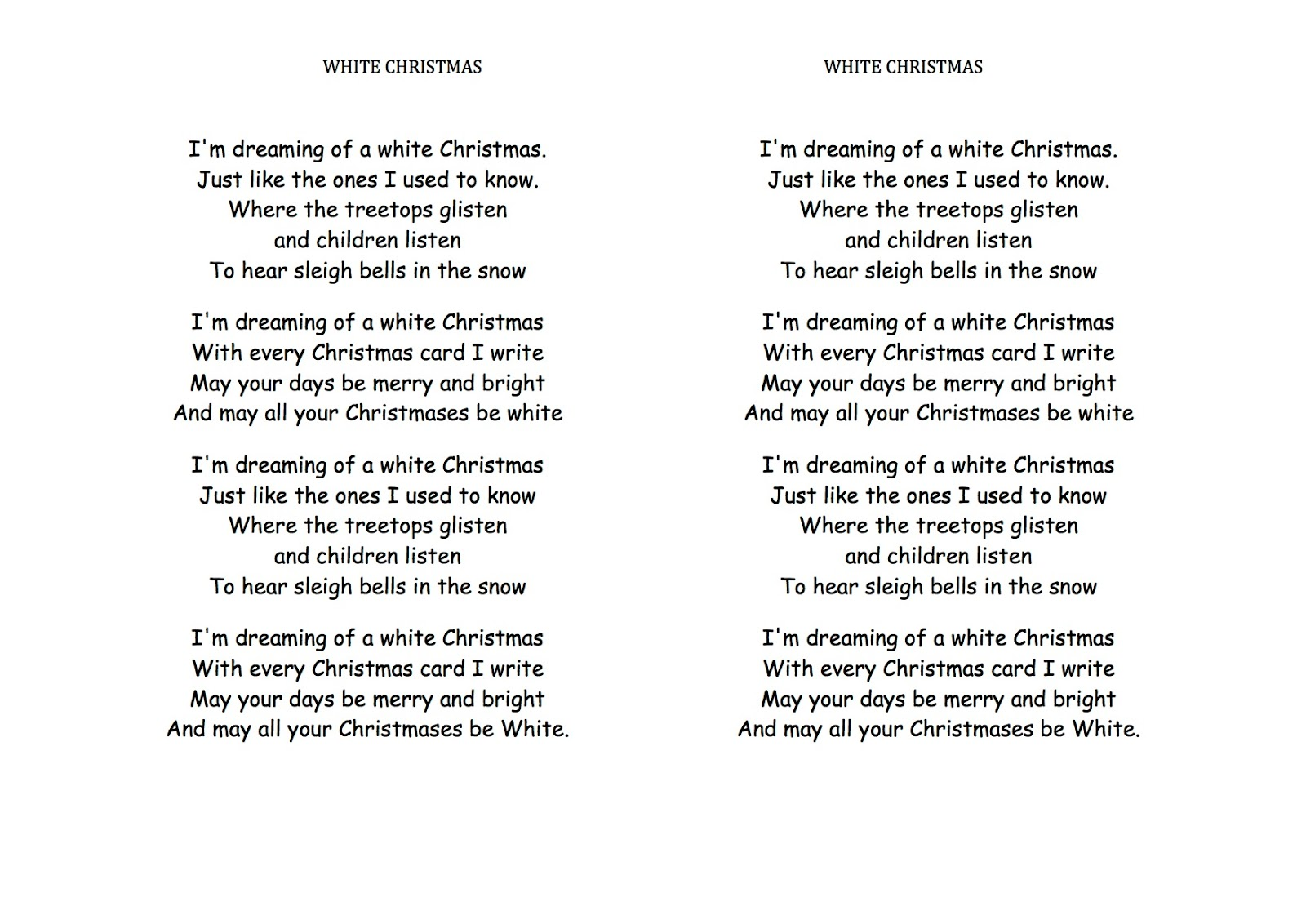 Cancion de navidad white christmas