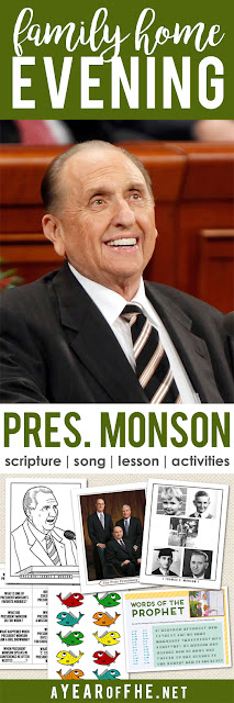 A Year of FHE // a free Family Home Evening lesson about the life, service, and leadership of President Thomas S. Monson, LDS Prophet. Includes scripture, song, lesson and 3 activities to choose from! #lds #prophet #fhe