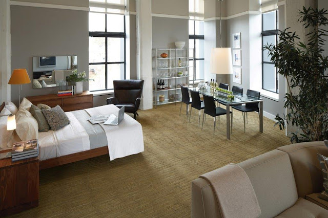 Carpet beautifully ties this space together.