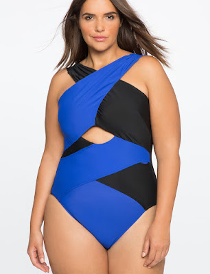 Plus Size Crisscross Front One Piece Swimsuit in Blue and Black by Eloquii
