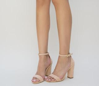 sandale roz de zi elegnate cu toc gros