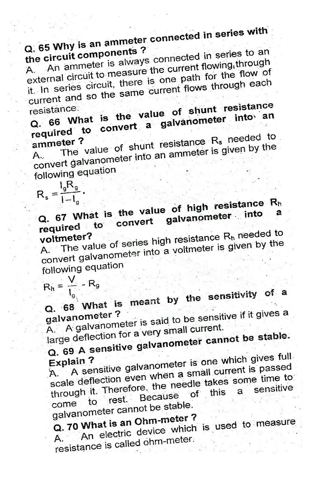 12th class Electromagnetism short questions notes