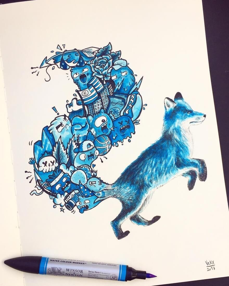 01-Blue-Fox-Vince-Okerman-aka-Vexx-11-Doodle-Drawings-and-1-Painting-www-designstack-co
