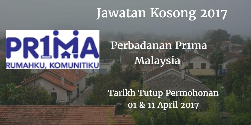 Jawatan Kosong PR1MA 01 & 11 April 2017
