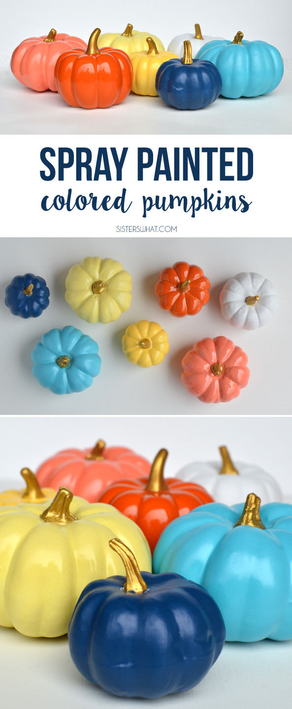 spray paint some fake pumpkins with fun colors and paint the top gold, so easy and fun!!
