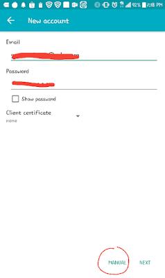 Pilih manual setelah mengisi alamat email dan passwordnya