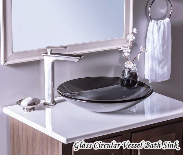 Low Profile Bathroom Sink Glass Circular Vessel