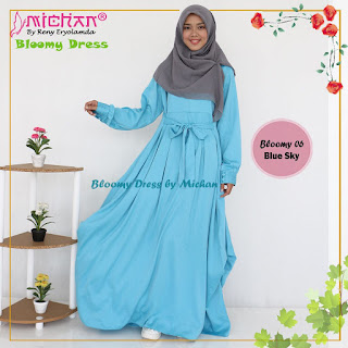 Gamis Michan Hijab Bloomy 06 Blue Sky