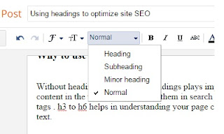 Using headings to optimize site SEO