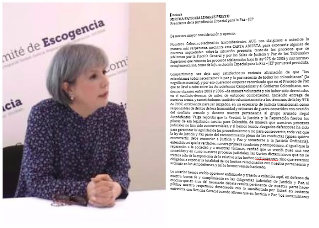 Carta a la Doctora Mirtha Patricia  Linares Prieto - Presidenta de la JEP