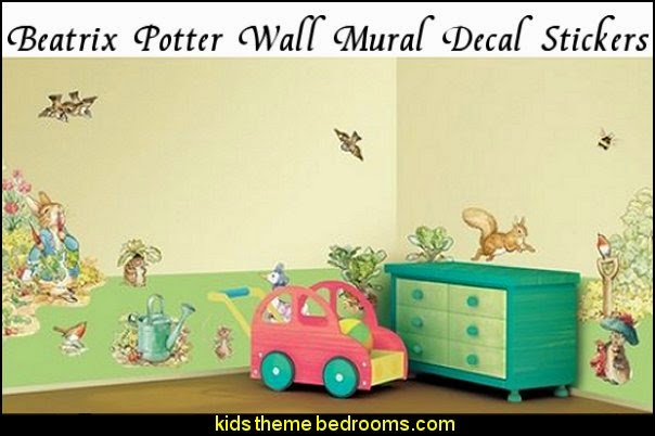 Beatrix Potter Wall Decal  peter rabbit bedroom - decorating peter rabbit theme bedroom - peter rabbit theme room ideas -  Beatrix Potter themed nursery - beatrix potter nursery decor - Beatrix Potter Nursery Murals - peter rabbit nursery decorating ideas - contemporary Beatrix Potter murals - Beatrix Potter wall decals  Peter Rabbit bedding - peter rabbit wall murals - beatrix potter characters plush toys