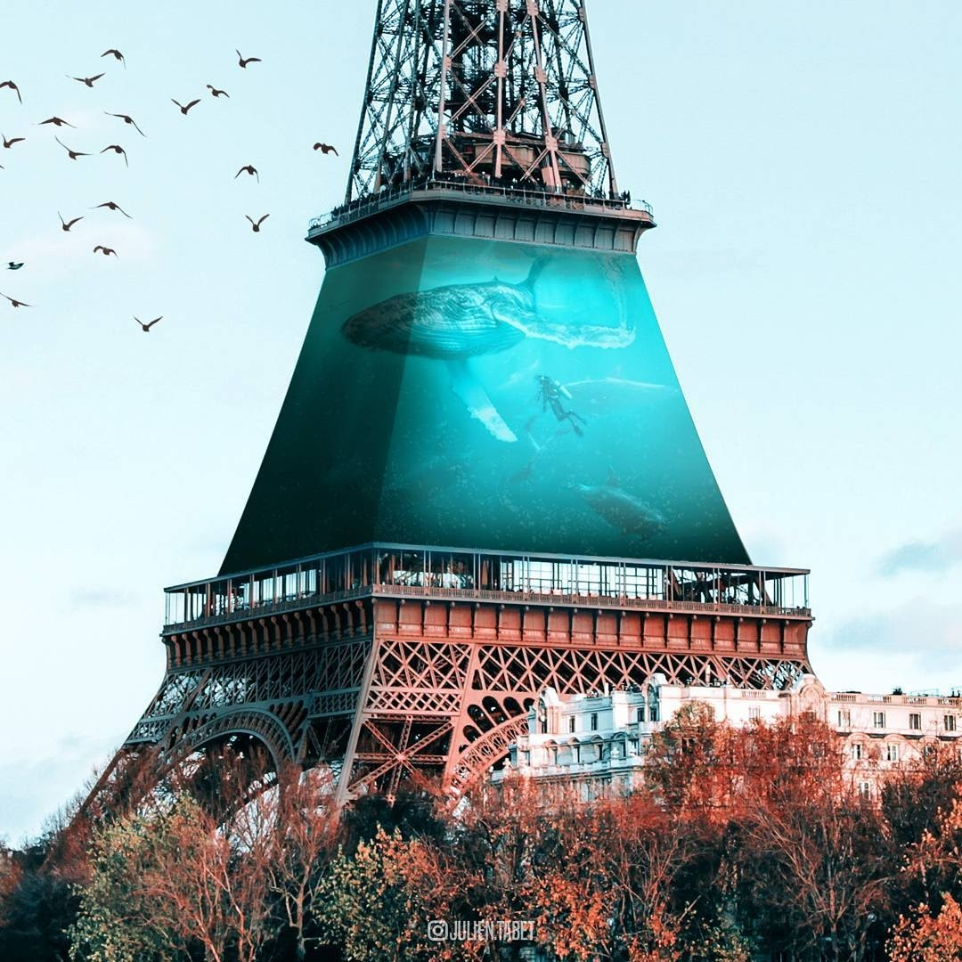 03-The-Eiffel-Tower-Paris-Julien-Tabet-Animals-and-Architecture-Photoshopped-Surrealism-www-designstack-co