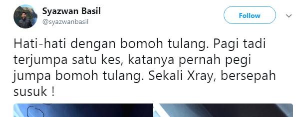 HATI-HATI DENGAN BOMOH TULANG .SEKALI X-RAY BERSEPAH SUSUK