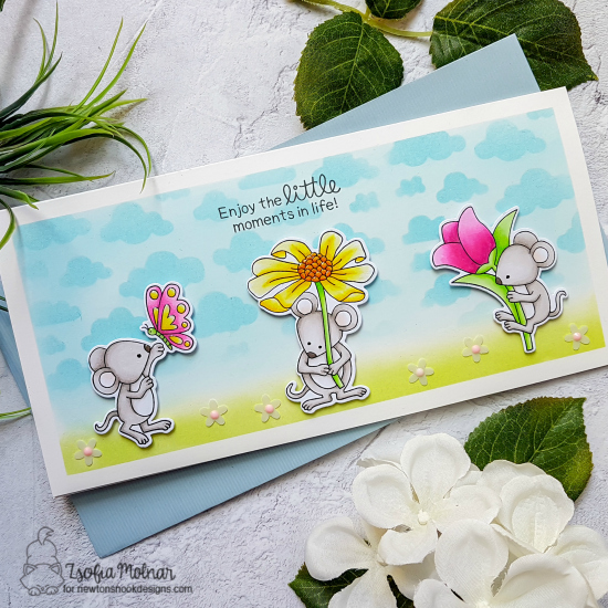 Mouse with Flowers Card by Zsofia Molnar | Garden Mice Stamp Set and Cloudy Sky Stencil by Newton's Nook Designs #newtonsnook #handmade