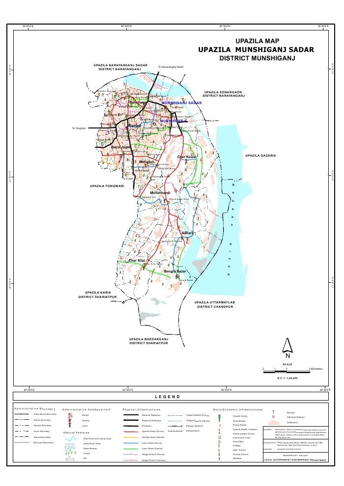 Munshiganj Sadar Upazila Map Munshiganj District Bangladesh