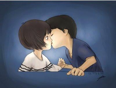 A kiss cartoon