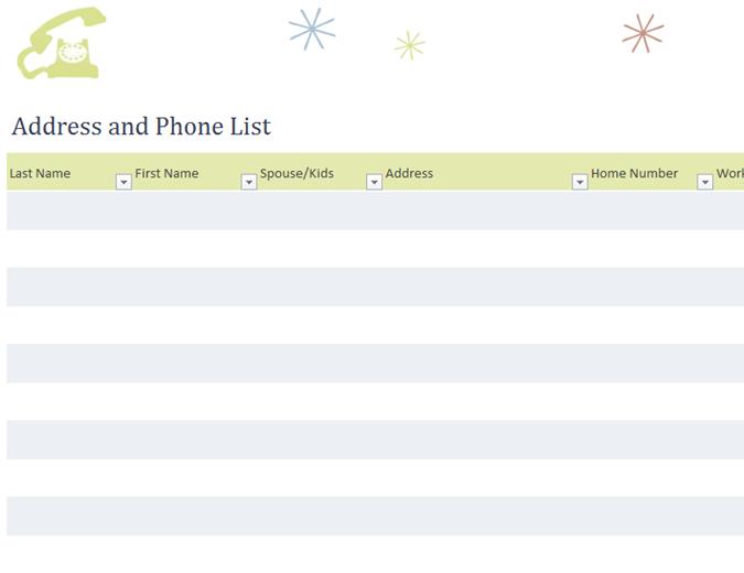template phone list