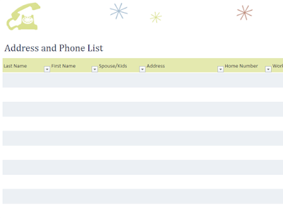 Address And Phone List Template QTitTemplates – Address List Template