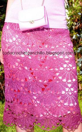 pollera de abanicos crochet