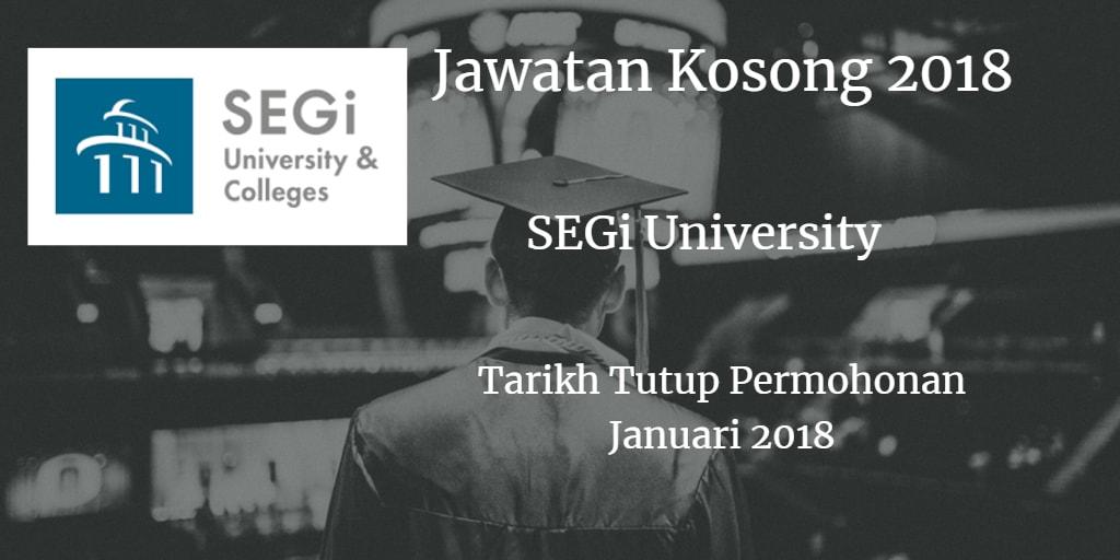Jawatan Kosong SEGi University Januari 2018