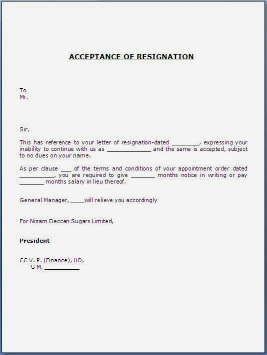 Formal Letter Format Resignation In Lieu | Professional Resumes