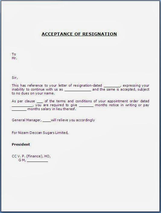 letter format hr letter formats - Resignation acceptance letter ...