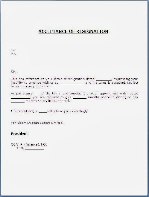 Acceptance of Resignation Letter Sample Template Example of Job ...