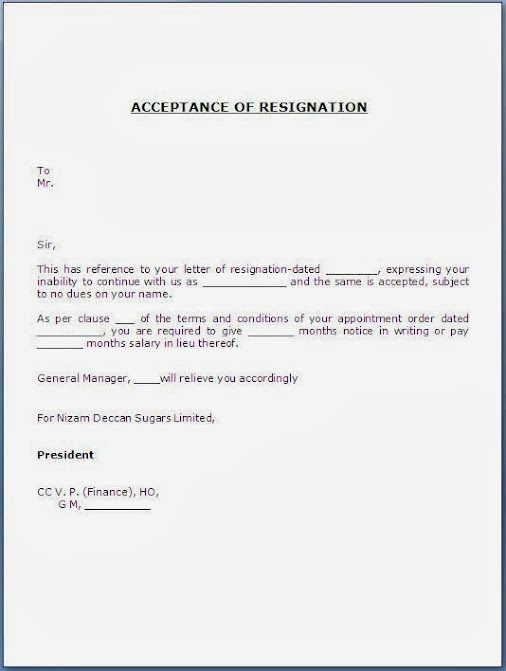 Acceptance Of Resignation Letter Sample Template Example Of Job Relieving  Ce.