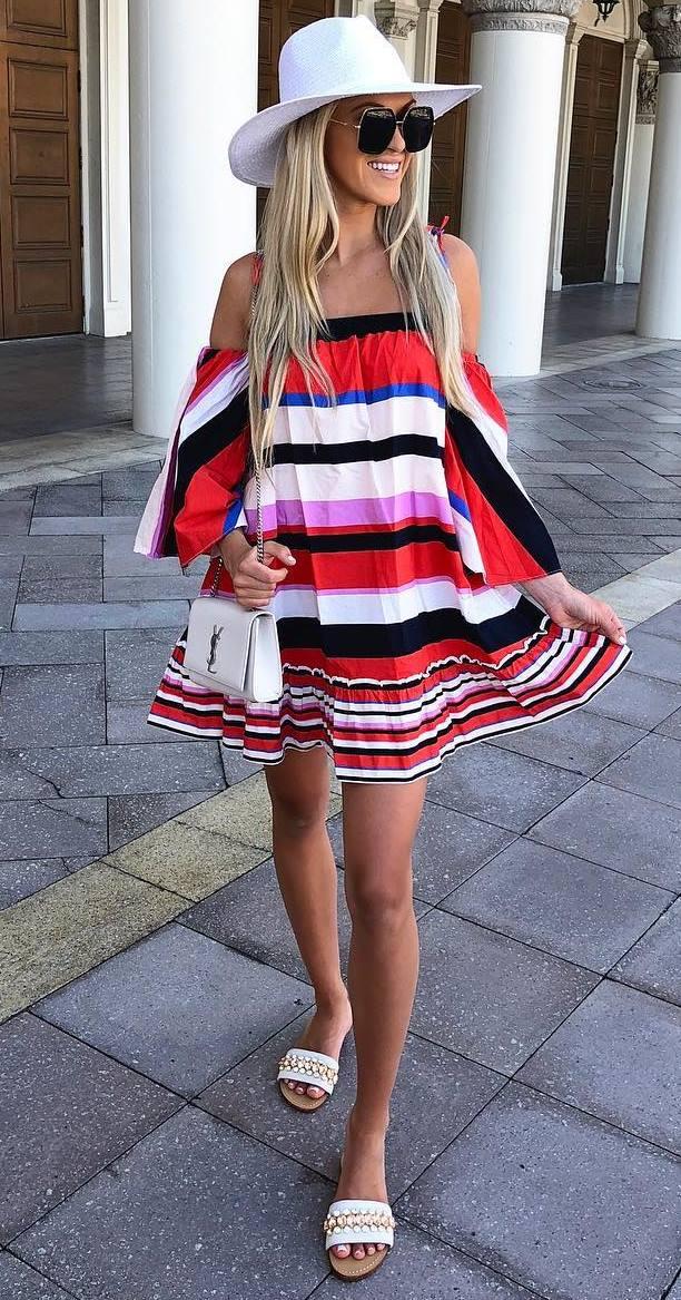 summer outfit inspiration : white hat + bag + striped off shoulder dress + flip-flop