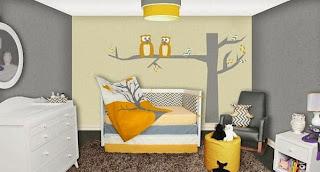 Habitación amarillo gris