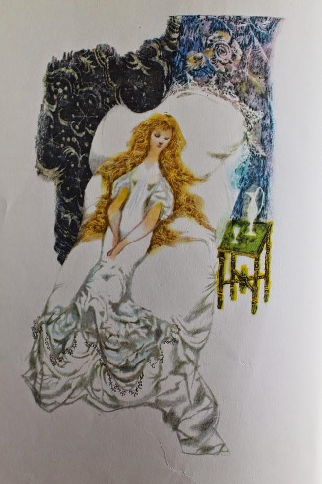 vintage 1960s briar rose sleeping beauty grimms fairy tale illustration