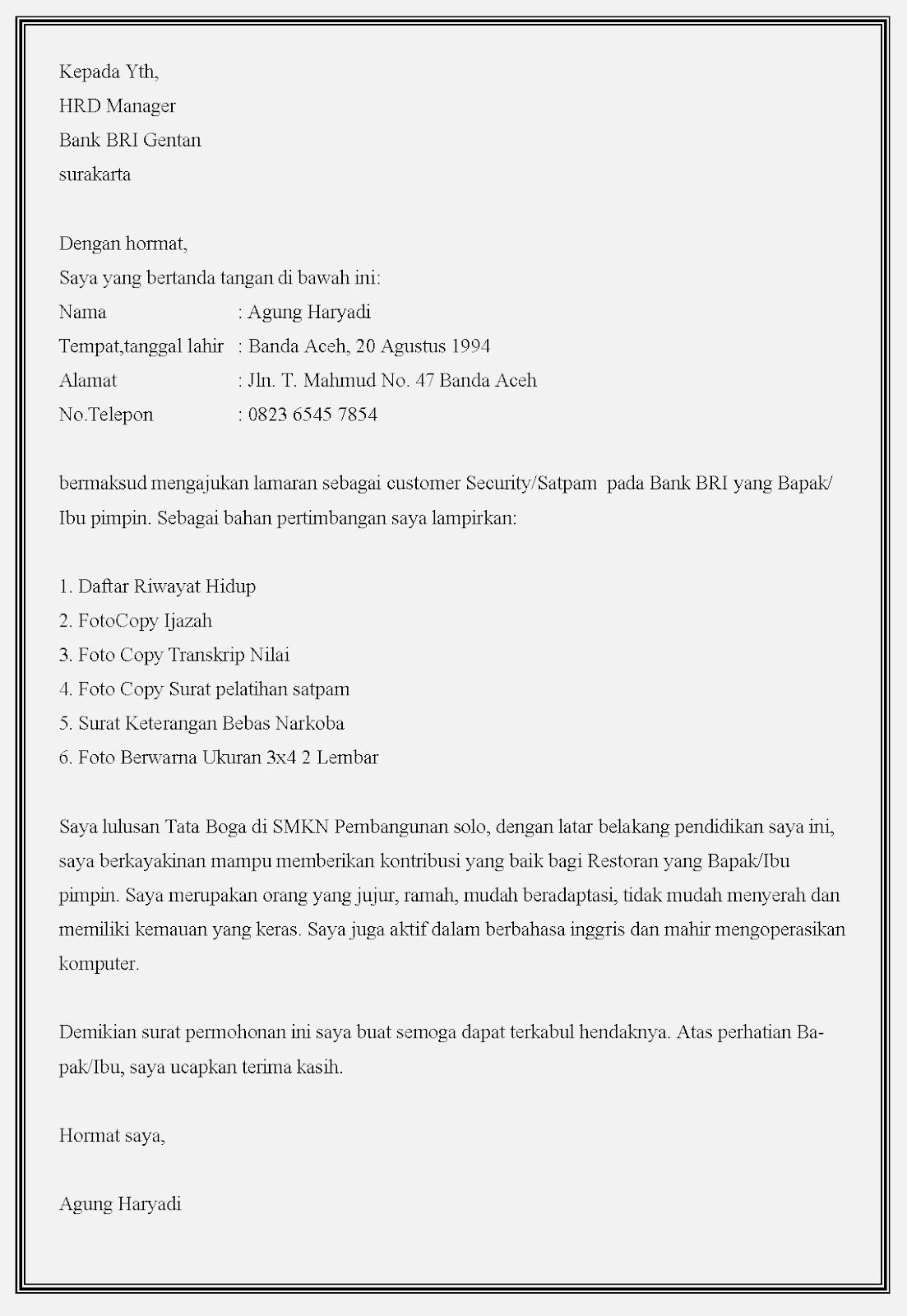 Contoh surat lamaran kerja security bank BRI