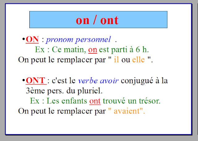 درس تعلم اللغة الفرنسية لمعرفة الفرق بين on و ont