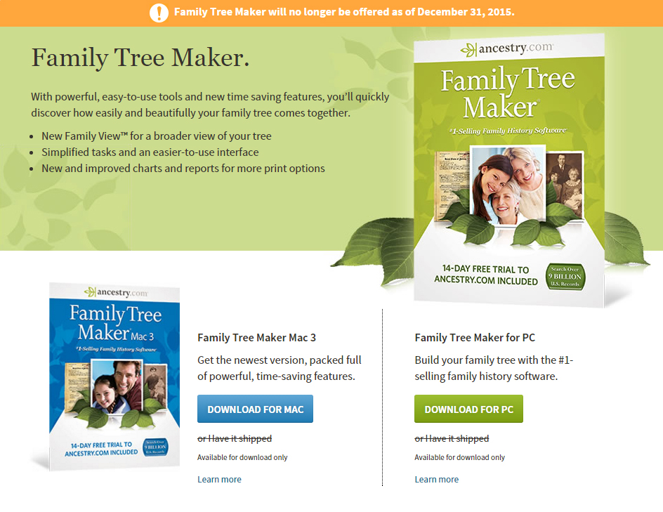 Genealogical Musings Ancestry to Discontinue Family Tree Maker - build family tree online