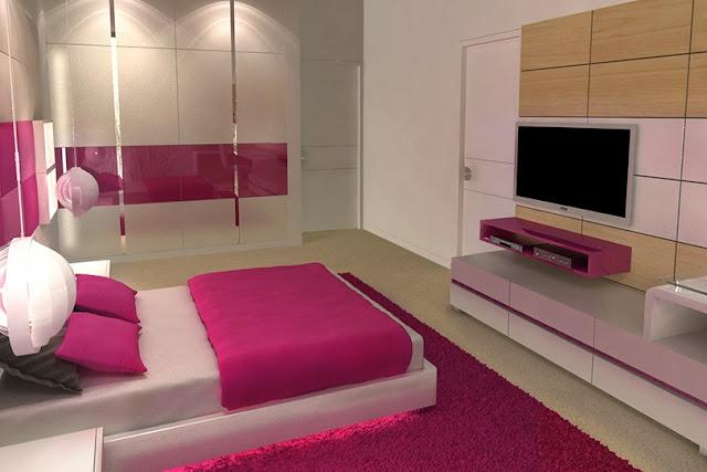 Dormitorio juvenil fucsia y blanco para estudiante for Cuartos de ninas fucsia