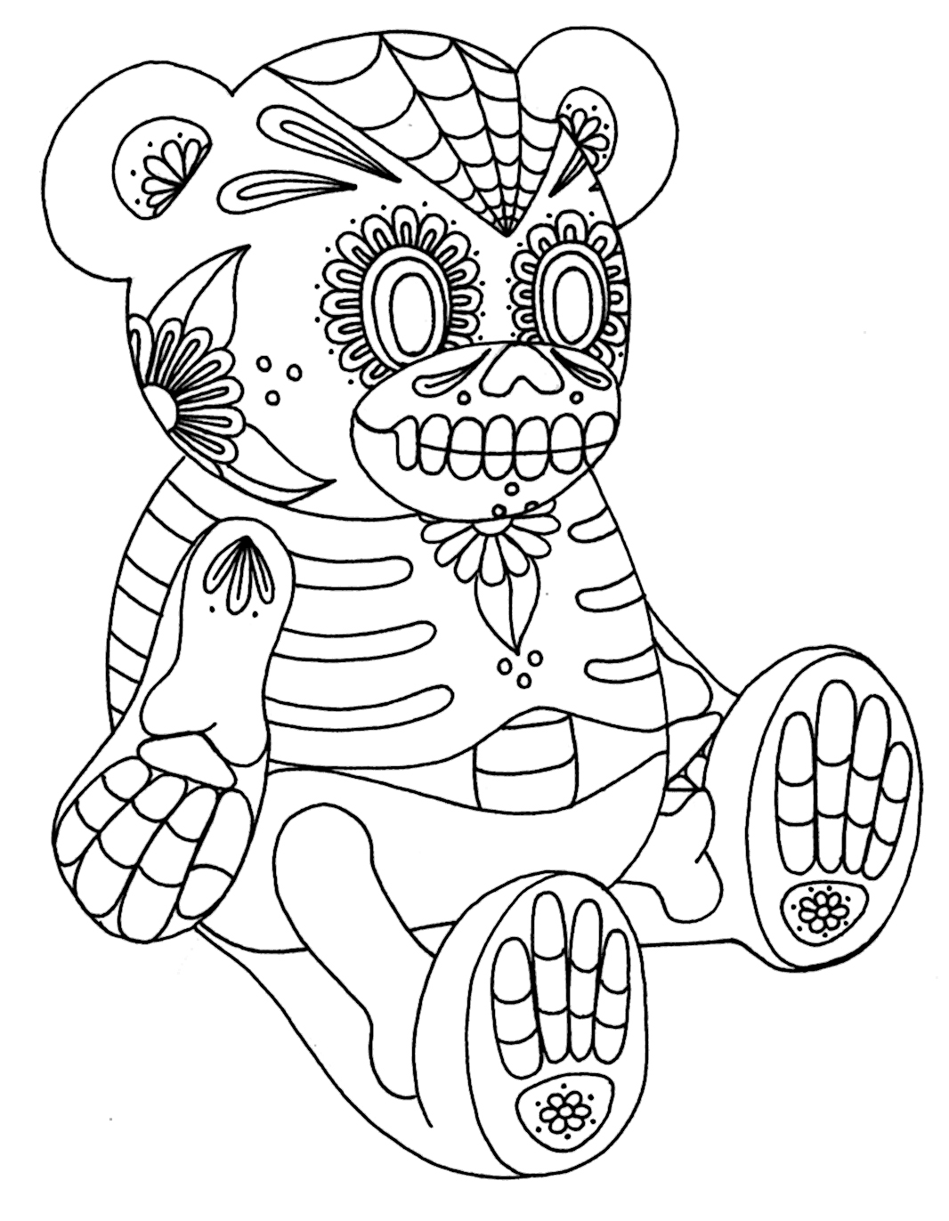 halloween teddy bear coloring pages | Yucca Flats, N.M.: Wenchkin's Coloring Pages - Sugar Skull ...