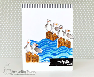 Hey Gull Friends Card by Samantha Mann for Newton's Nook Designs, Beach, sea gulls, handmade cards, Mixed Media, Waves, stencil #disterssinks #newtonsnook #cards