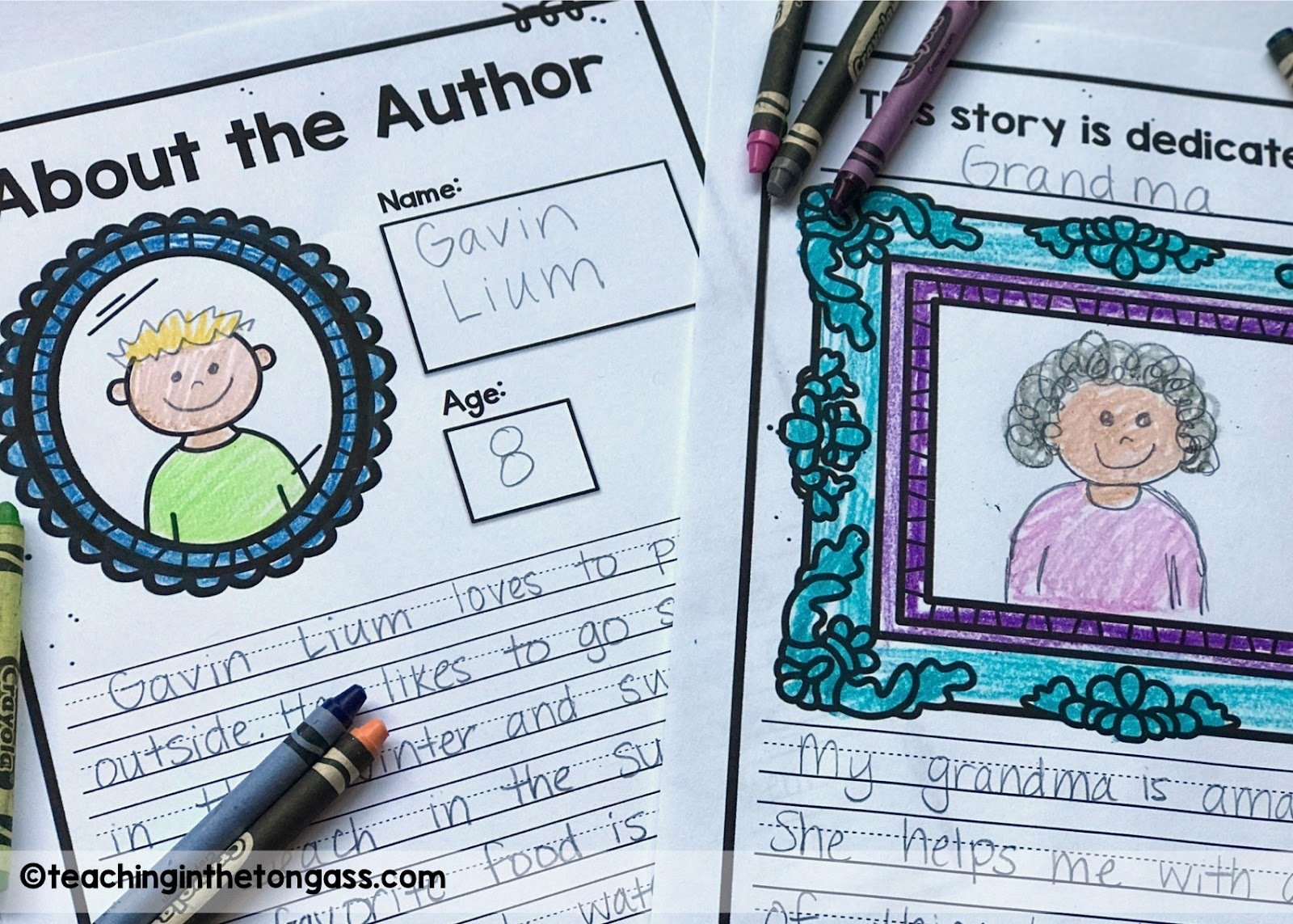 Writing authors page