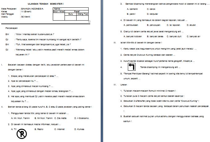 Download Soal UTS SD/MI Kelas VI Semester 1 Mata Pelajaran Bahasa Indonesia Format Microsoft Word