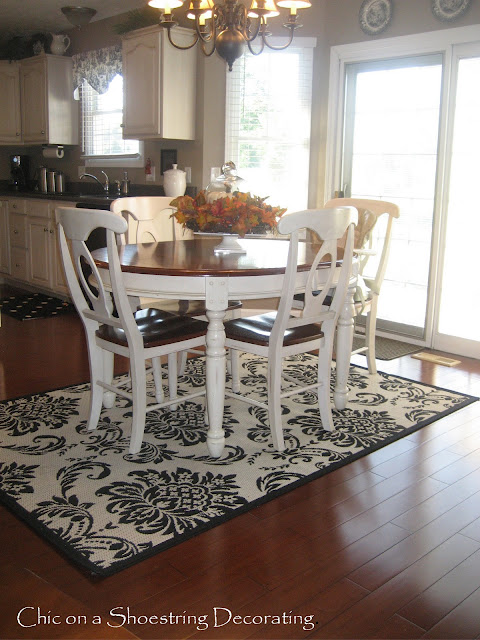 damask rug, Chic on a Shoestring Decorating blog