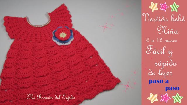 319c74ade TIERNO VESTIDO coral a CROCHET para bebe niña paso a paso - SWEET crochet  coral DRESS baby girl