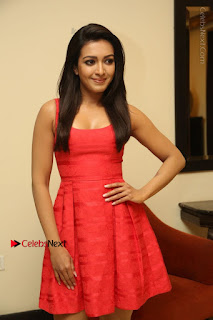 Actress Catherine Tresa Latest Pos in Red Short Dress at Intex Air Conditioners Launch  0028.jpg
