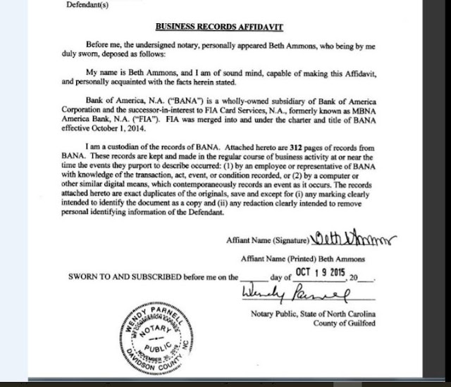 2015 Beth Ammons Affidavit with merger history facts regarding FIA and BANA