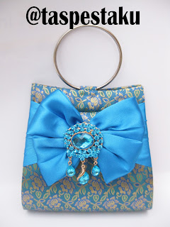 Clutch Bag Tas Pesta Tenun Songket Sari India Biru Tosca