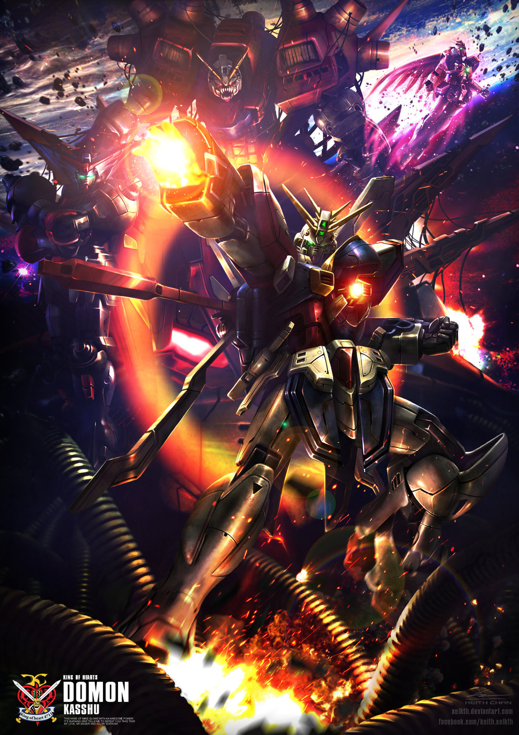 Gundam digital art works by keith chan xeikth gundam for Domon vs master asia