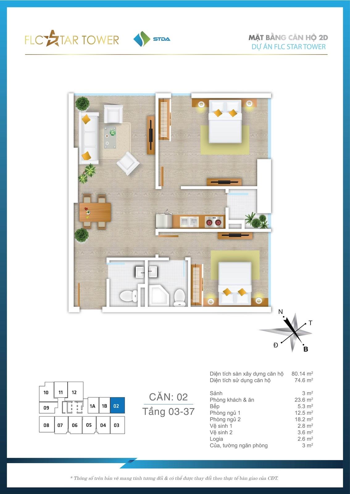 Thiết kế căn hộ 02 - Chung cư FLC Star Tower Hà Đông