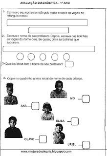 Avaliação diagnóstica alfabetização