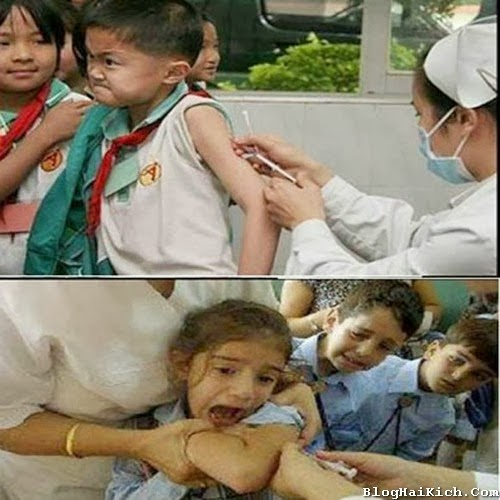 Hình ảnh em bé vui nhộn khi đi tiêm vắc xin