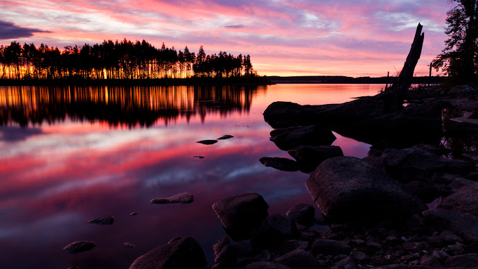 Wallpaper: Lake Water Summer Sunset Nature